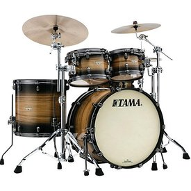 TAMA Tama Starclassic Maple Exotix Pacific Walnut 22''Bd 5Pc Shell Kit With Black Nickel Shell Hardware In Natural Pacific Walnut Burst Finish