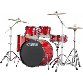 "Yamaha Yamaha RDP2F56WWURD Hot Red Rydeen: 5-Pc. Drum Set With Hw-680W And 457 Rock Cym, 22"" Bd Configuration"