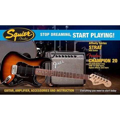 Affinity Series Strat HSS w/ Fender Champion 20 Amp, Brown Sunburst