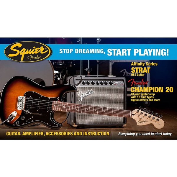 Fender Affinity Series Strat HSS w/ Fender Champion 20 Amp, Brown Sunburst