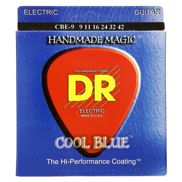 DR Handmade Strings DR CBE-9 Cool Blue Electric Guitar Strings, Light, 9-42