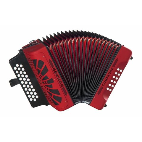Hohner COGR Compadre Diatonic Button Accordion G C F Red w/ Gig Bag