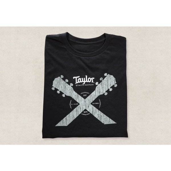 Taylor Taylor Taylor Double Neck T, Black- L Short Sleeve T