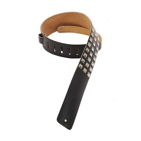 "Levy's M1SD-BLK 2 1/2"" Leather Strap w/ Metal Studs Black"
