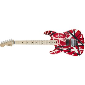 EVH Striped Series LH R/B/W, Maple Fingerboard, Red, Black and White Stripes