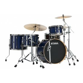 TAMA TAMA Superstar Hyper-Drive Duo 4-piece shell pack Satin Silver Vertical Stripe