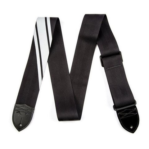 Fender Competition Stripe Strap, Black and Silver