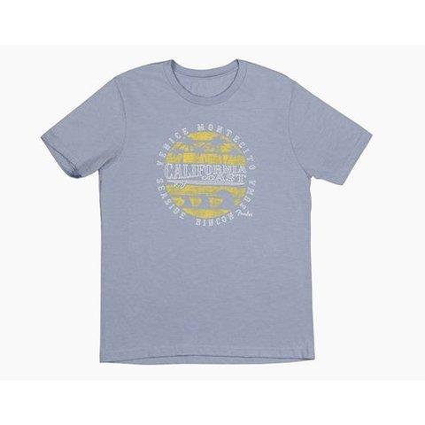 Fender Cali Coastal Yellow Waves Men's T-Shirt, Gray, M