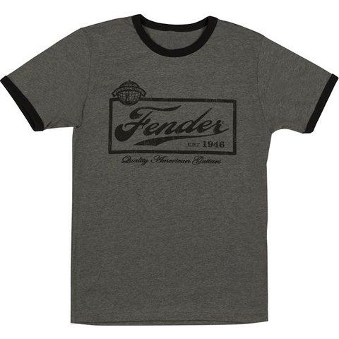 Fender Beer Label Mens T-Shirt, Black, L