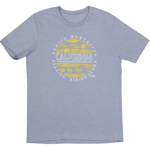 Fender Cali Coastal Yellow Waves Men's Tee, Blue, L