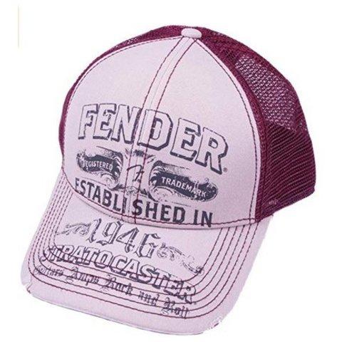 Fender Stratocaster Trucker Cap, Off-White/Wine, One size