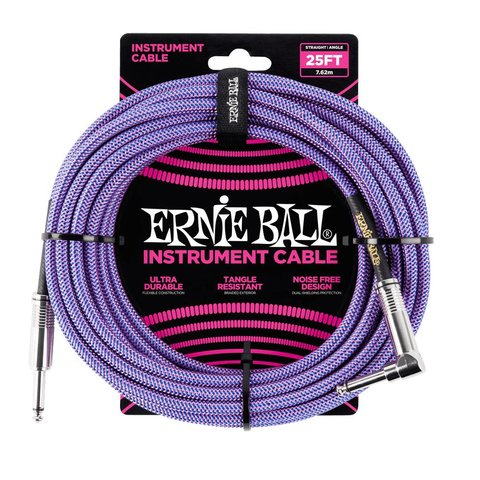 6069 Ernie Ball 25ft. Straight / Angle Braided Purple / Blue Cable Black / Gold Shrink