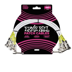 Ernie Ball 6055 Ernie Ball 1 Ft. Angle / 3pk  White Patch Cable Black / Green Shrink
