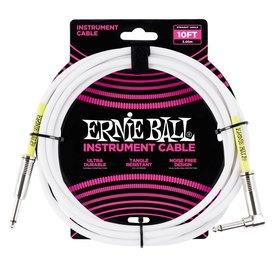 Ernie Ball 6049 Ernie Ball 10 Ft. Straight / Angle White Jacket / Green Sleeve