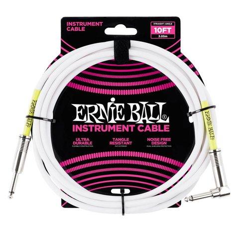 6049 Ernie Ball 10 Ft. Straight / Angle White Jacket / Green Sleeve