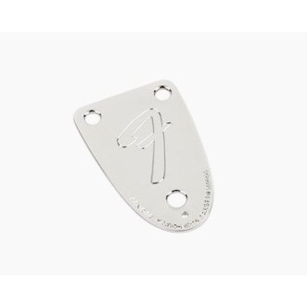 Fender '70s Vintage-Style 3-Bolt ''F'' Stamped Bass Neck Plate, Chrome