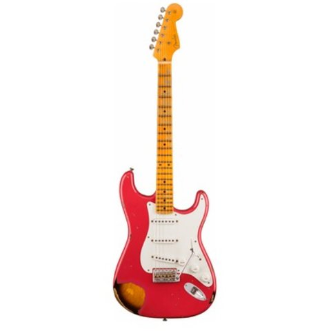 1955 Stratocaster Heavy Relic, Aged Coral Pink over Chocolate 2-Color Sunburst