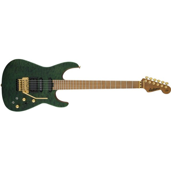 Jackson USA Signature Phil Collen PC1 Satin Stain, Caramelized Flame Maple Fingerboard, Satin Transparent Green