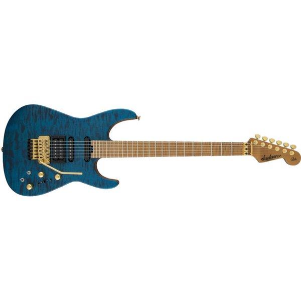 Jackson USA Signature Phil Collen PC1 Satin Stain, Caramelized Flame Maple Fngrbd, Satin Transparent Blue