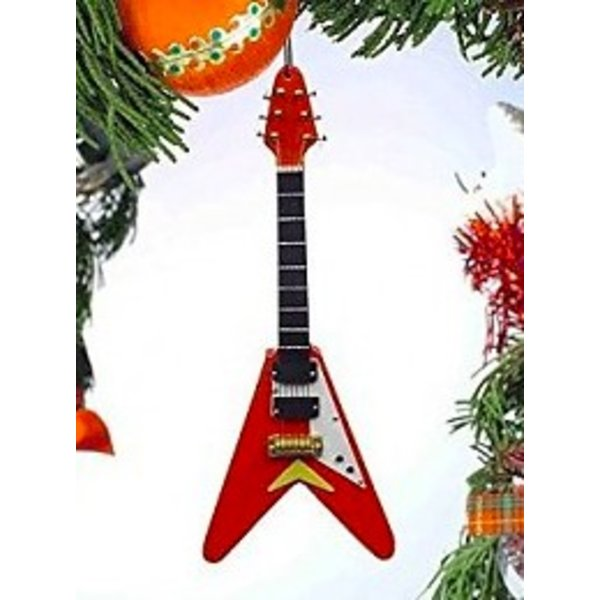Music Treasures Co. Electric Guitar V Ornament Natural Wood