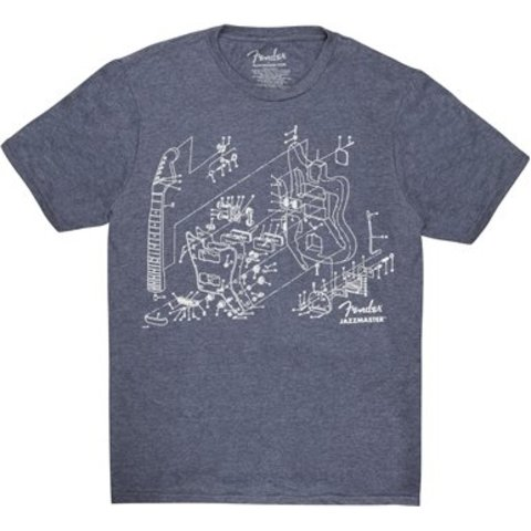 Fender Jazzmaster Patent Drawing T-Shirt, Blue, L