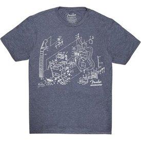 Fender Fender Jazzmaster Patent Drawing T-Shirt, Blue, XL