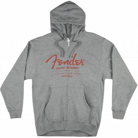 Fender Electric Instruments Men's Zip Hoodie, Grey, XXL