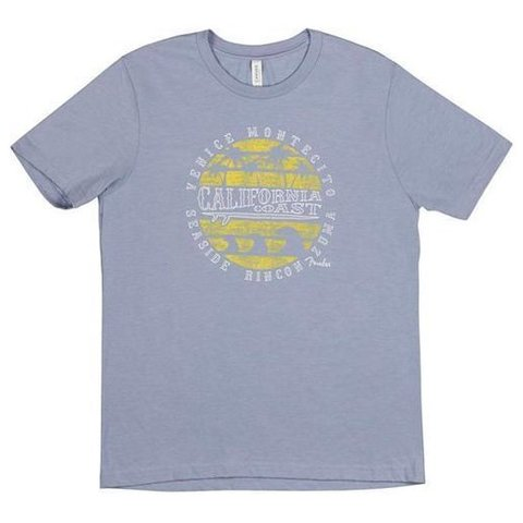 Fender Cali Coastal Yellow Waves Men's T-Shirt, Gray, XXL