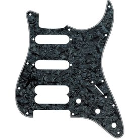 Fender Pickguard, Stratocaster H/S/S, 11-Hole Mount (No Holes Drilled For Humbucking Pickup Mount), Black Pearl, 4-Ply