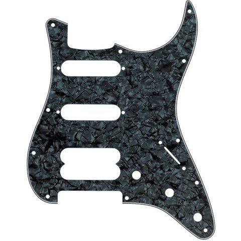 Pickguard, Stratocaster HSS 11-Hole Mnt (No Holes Drilled For Humbucking Pickup Mnt) Blk Prl 4-Ply