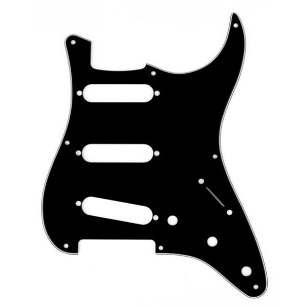 Fender Pickguard, Stratocaster S/S/S, 8-Hole Mount, Black, 3-Ply