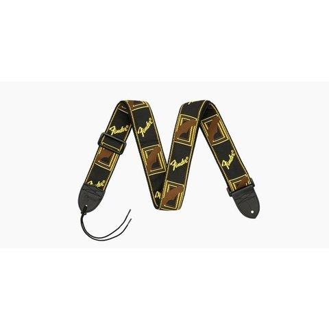 Fender 2'' Monogrammed Strap, Black/Yellow/Brown