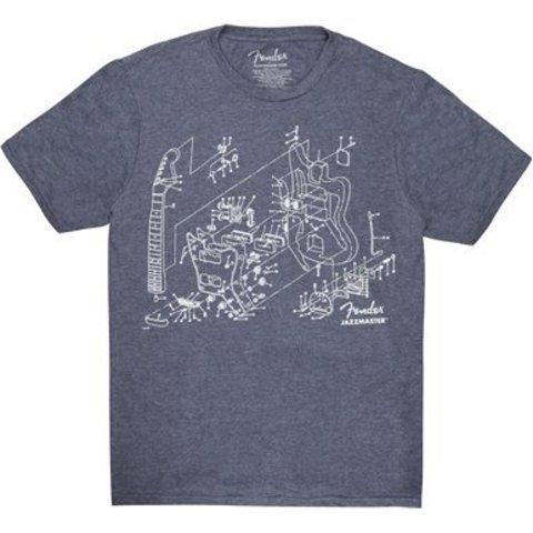 Fender Jazzmaster Patent Drawing T-Shirt, Blue, M