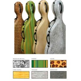 Maple Leaf Strings Expression Fiberglass Cello Case - Striped