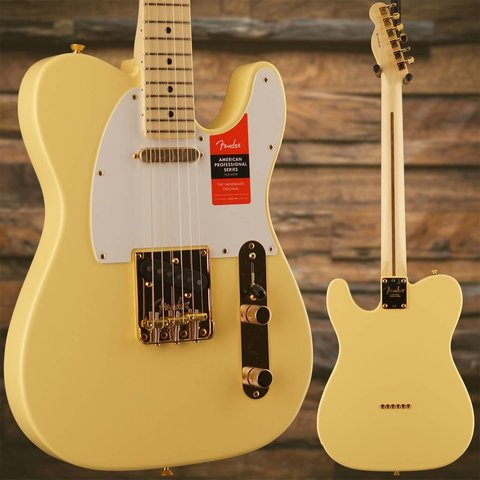 Fender Limited Edition American Pro Telecaster, Maple Neck, Vintage White w/ Gold HW SN/US18001185