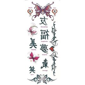 Johnson And Mayer Asian Butterflies Temporary Tattoos