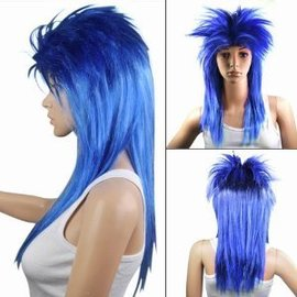 Lacey Costume Wig Punk Fright, Blue - Wig