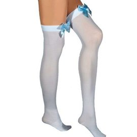 Leg Avenue White Opaque Thigh High With Blue Satin Bow