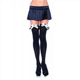 Leg Avenue Black Opaque Thigh High w/ Ruffles And White Bow - Leg Avenue