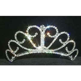 Rhinestone Jewelry Corporatrion Raised Princess Tiara - 2 inch