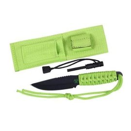 Rothco Paracord Knife With Fire Starter - Safety Green