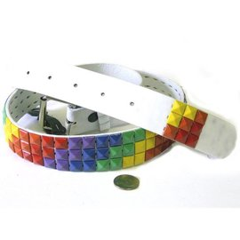 80s Multicolor Pyramid Tile Stud Belt - Assorted