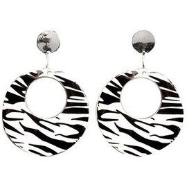 Forum Novelties 80's Zebra Black and White Earrings (C4)