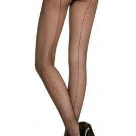 Music Legs Fishnet Tights with Seam - Black