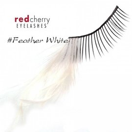 Red Cherry Eyelashes w/Feather White FWHT