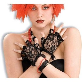 Forum Novelties Black Lacey Fingerless Gloves