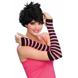 Forum Novelties 80's Striped Fingerless Gloves - Pink/Black (C4)