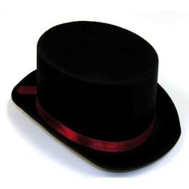 Forum Novelties Black Satin Top Hat w/Red Band