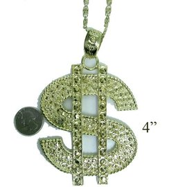 Accessory Label Dollar Sign Necklace Gold