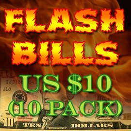 Red Corner Magic Flash Bills - Ten Pack $10.00 Denominations